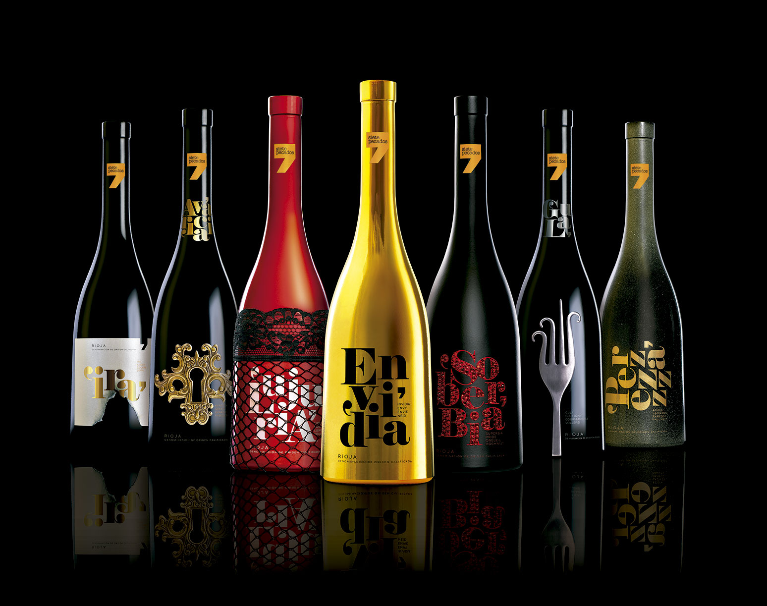 The Seven Sins Rioja Red wine Design.